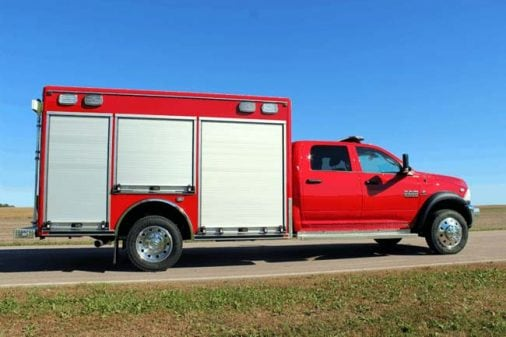 Fire truck with custom built-in compartments