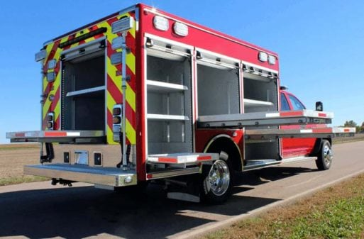 Rescue truck with built-in compartments and workstations