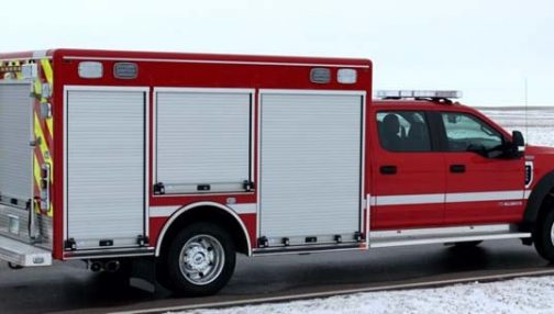 Fire truck with built-in compartments
