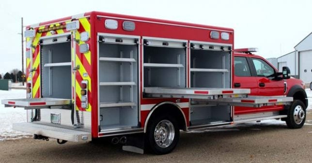 Rescue truck with built-in workstations and compartments