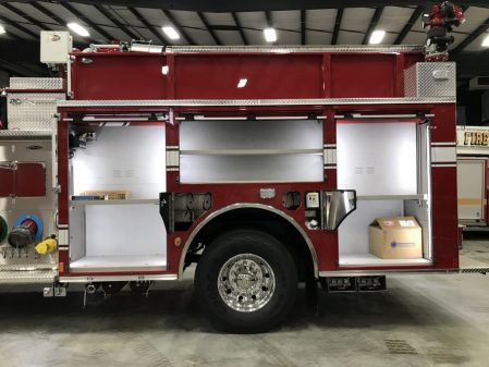 Velocity Industrial Pumper, Stock Number 34006 driver side compartments open