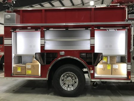 Velocity Industrial Pumper, Stock Number 34006 right side compartments open