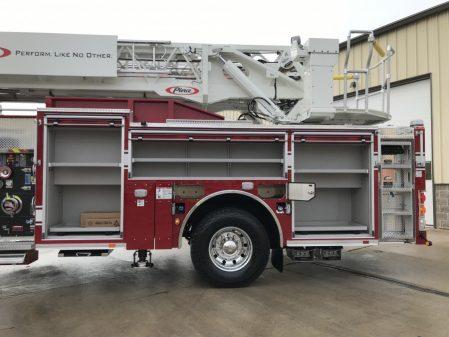 Pierce 107' Ascendant driver side compartments