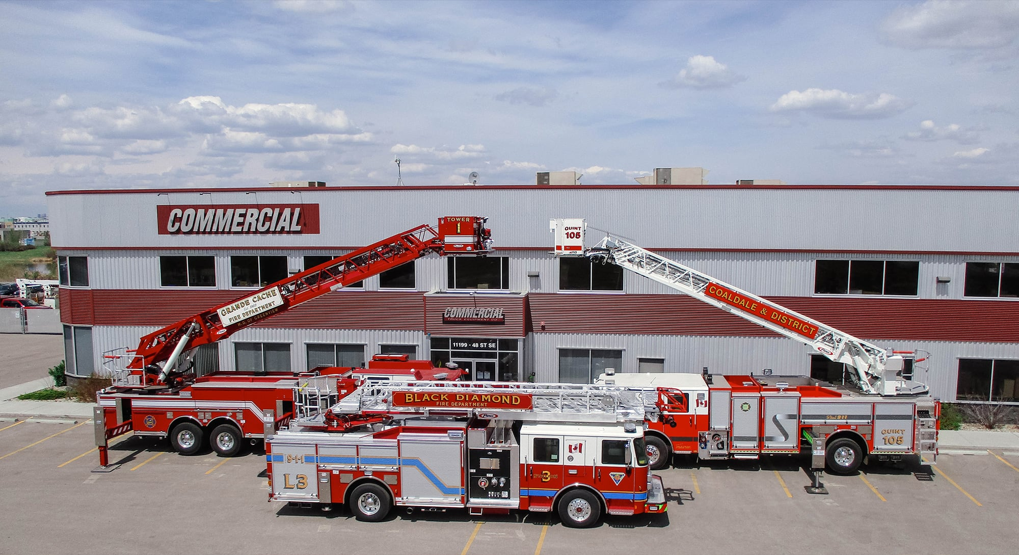 fire trucks on display at commercial emergency equipment